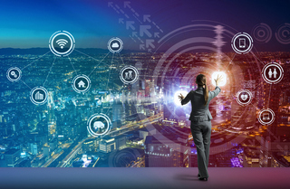 young business person and graphical user interface concept, Internet of Things, Information Communication Technology, Smart City, digital transformation, abstract image visual
