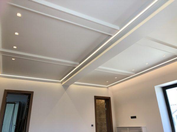 Монтаж светового потолка в п. Валуево в гостинной